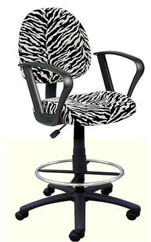 Loop Arm Drafting Stool - New! Zebra Print Soft Microfiber Drafting bar Counter Stools Chairs with Loop Arms