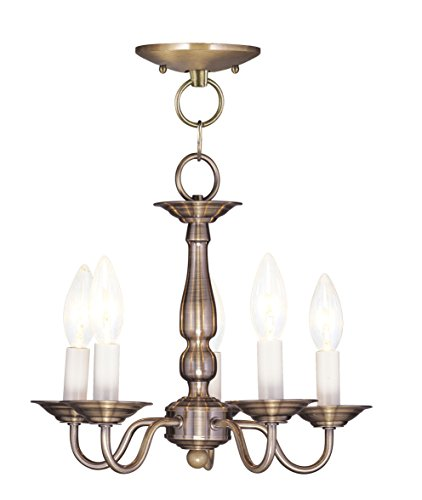 Livex Lighting 5011-01 Williamsburg 5-Light Convertible Hanging Lantern/Ceiling Mount, Antique Brass