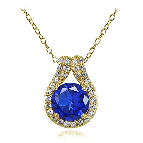Amethyst Blue Sapphire Necklace (Yellow Gold Flashed Sterling Silver Simulated Blue Sapphire Round Halo Necklace with CZ Accents)
