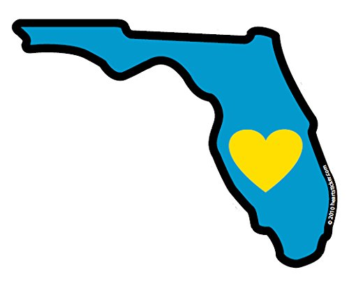 Heart in Florida Sticker Vinyl Decal Label Stickers, Die-Cut Shape for Water Bottle Laptop Luggage Bike Laptop Car Bumper Helmet Waterproof Show Love Pride Local Sunshine State Everglades FL FLA