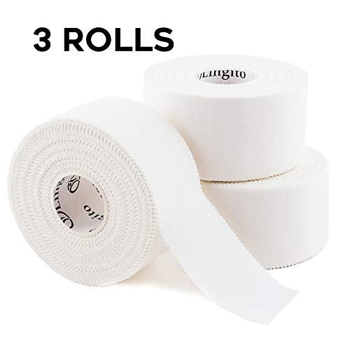 Athletic Sports Tape (White) | Strong Easy Tear |Perfect for Bats/Lacrosse/Hockey Sticks/Climbers and Boxing (3 Pack)