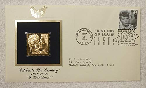 I Love Lucy - Celebrate the Century (The 1950s) - FDC & 22kt Gold Replica Stamp plus Info Card - Postal Commemorative Society, 1999 - TV Show, Lucy & Ricky Ricardo, Lucille Ball, Desi Arnaz, Sitcom, Television
