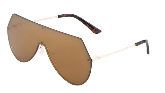 cf5c7b50b205 Rimless Oversized Flat Top Shield Aviator Sunglasses (Gold & Tortoise  Frame, Brown Amber)
