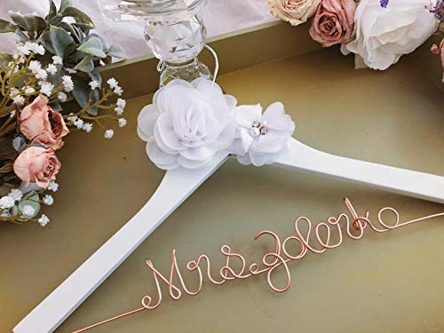 Wedding Hanger Gift for Her Rose Gold Wedding Diamond Ring Shower Gift Rose Gold Glitter Hanger Vintage Hanger Pearls Bride Hanger