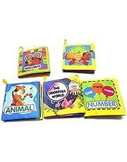 اكس دي - 1 مجموعة من 6 كتب قماشية غير سامة من نسيج ناعم للاطفال من الولادة وحتى عمر 3 سنوات [كتاب قماشي] غير معروف