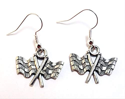 Pewter Checkered Flag Charms on Hypoallergenic French Hook Dangle -