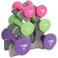"Tone Fitness 9.1kg Hourglass Neoprene Dumbbell Set with ""A"" Frame Rack"