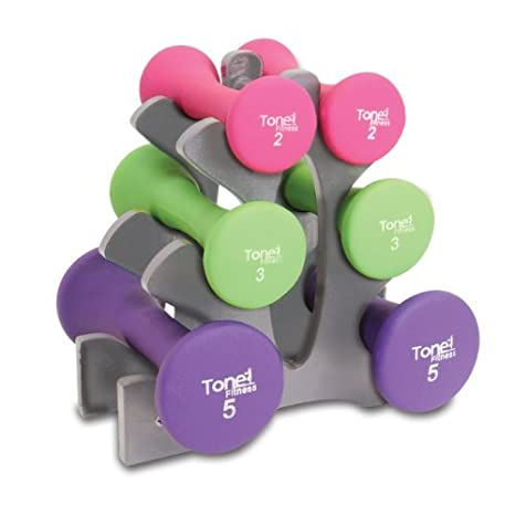 Amazon com: Tone Fitness 20-Pound Hourglass Dumbbell Set | Weight