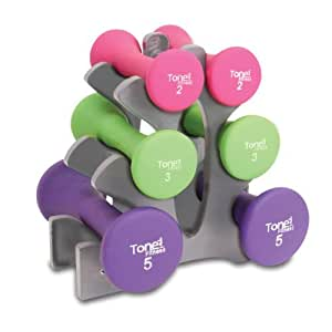 Tone Fitness Hourglass Shaped Dumbbell Set, 20- Pounds