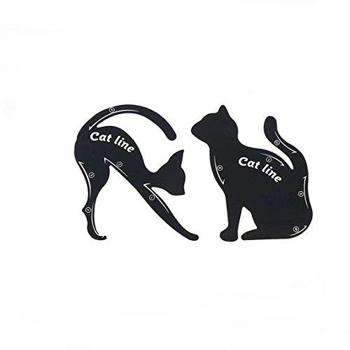 Rungao 2pcs hojas gato negro delineador de ojos diseño de color gris sombra de ojos maquillaje delineador de ojos moldes plantilla para herramientas haosshop