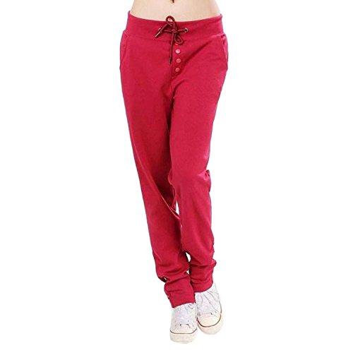 Waist Vintage Rot Tempo Pantaloni Autunno Pantalone Donna Moda Chic Cute Coulisse High Jogging Sport Eleganti Monocromo Leggings Libero Primaverile Con 5wq0xq6cTH