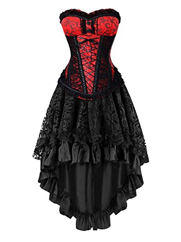 Killreal Women's Gorgeous Theme Party Gothic Steampunk Masquerade Halloween Costume Corset Skirt Set Red/Black Large
