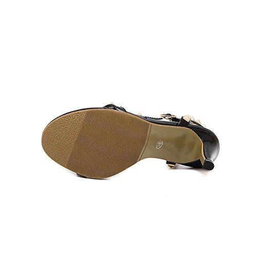 fereshte Women Rivet Open Toe T-Strap Buckle Hollow Chunky High Heel Gladiator Sandals Summer Heels Size 2Black yPxdl