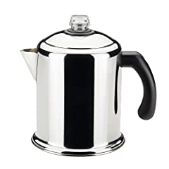 Brewing coffee on the stovetop extracts a fuller, richer flavor, and this Farberware Classic Series Stainless Steel 8 Cup Yosemite Stovetop Percolator is ready to brew four to eight cups of your favorite blends. Farberware has been trusted fo...