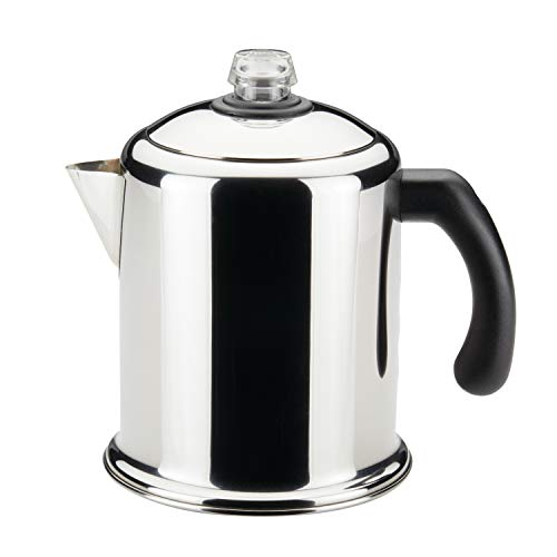 Farberware 50124 Classic Stainless Steel Yosemite 8-Cup Coffee Stovetop Percolator (Metal Coffee Pot)