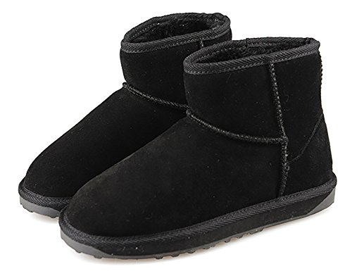 Cork Womens Classic Leather Half Snow Boots Black QrXUP481