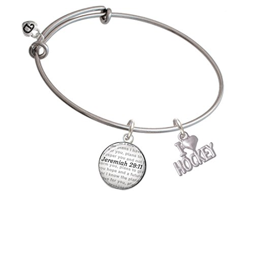 Silvertone I 'Heart' Hockey - Bible Verse Jeremiah 29:11 Glass Dome Bangle Bracelet (Bible Verse About Giving To Others In Secret)