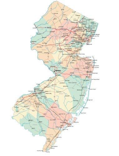 Home Comforts New Jersey State Road Map City County Trenton Vivid Imagery Laminated Poster Print 24 x 36 (New Jersey State Map With Cities And Counties)