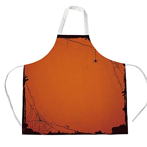 Spider Web 3D Printed Cotton Linen Apron,Grunge Halloween Composition Scary Framework with Insects Abstract Cobweb,for Cooking Baking Gardening,Orange Brown]()