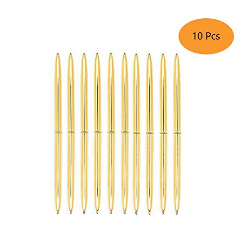 Ballpoint Pens Gold Pen Set 10 Piece Set - Gold Ballpoint Pen Lightweight Metal Black Ink - Gold Office Supplies (Black Ink)