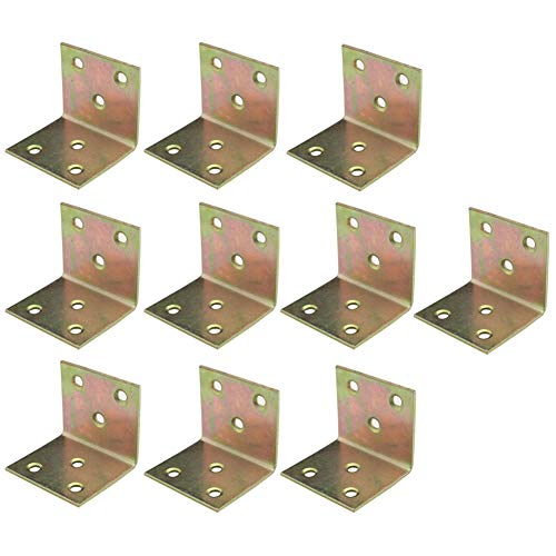 LICTOP 10 Pack Metal Shelf Support Corner Brace Heavy Duty Right Angle Mending Repair Fixing Bracket with Screws, 45x40x40mm ()