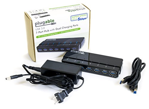 Plugable 7 port USB 3.0 hub - 25W Powered USB HUB with Two BC 1.2 Charging ports for Android, Apple iOS, and Windows Mobile Devices