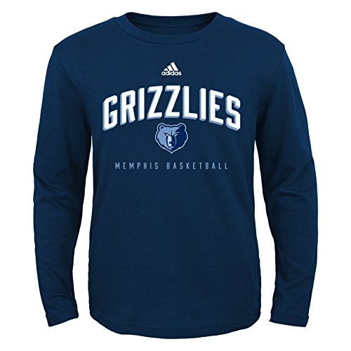 OuterStuff NBA Youth Boys 8-20 Memphis Grizzlies Arched Standard Long Sleeve Tee-Dark Navy-S(8)