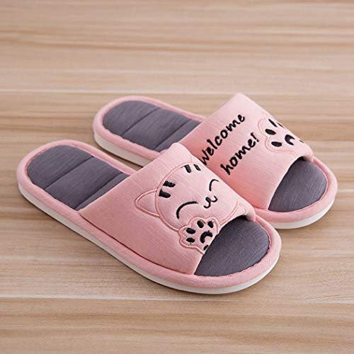 Plate Cartoon Confortable Chaussures Slip Chaud Lovers Rose Chat Chaussons 01 forme Sandales Couple Tongs Femmes Printemps A5wH4qS41