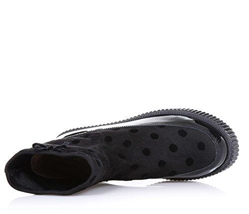 TWIN-SET - Bottine noire en suède et cuir, Made in Italy d'haute qualité, avec petit nœud et cœur avec logo appliqués sur le côté, Fille, Filles, Femme, Femmes