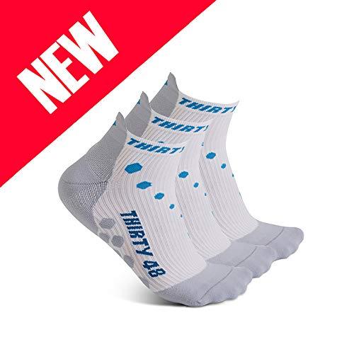 Thirty 48 Compression Low-Cut Running Socks for Men and Women (Medium - Women 7-8.5 // Men 8-9.5, [3 Pairs] Blue/White)