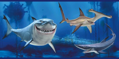 Blue Mountain Wallcoverings DF059231BFP Finding Nemo Sharks Prepasted Wall Border
