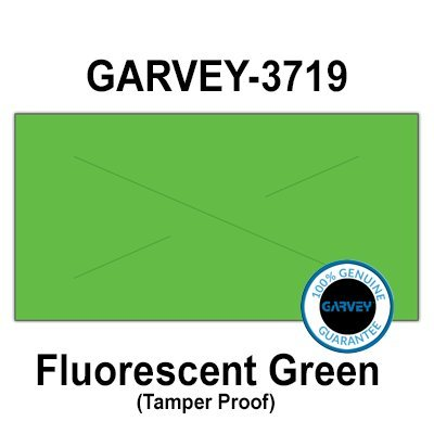 80,000 GENUINE GARVEY 3719 Fluorescent Green General Purpose Labels: full case - 10 ink rollers - tamper proof security cuts