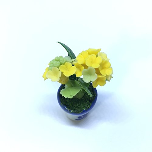 Hydrangea (Yellow) Flower Handmade Miniature Clay Collectible Bow Crafts Dollhouse Garden Set Show Tiny Tree (Christmas Belmont Farm Tree)