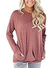 ZIOOER Women Casual Sweatshirt T-Shirt Long Sleeve Pullover Tunic Tops Pockets Blouses