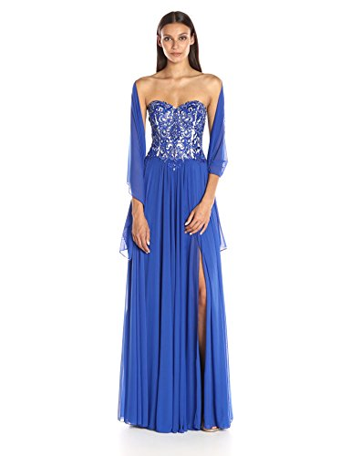 JVN by Jovani Women's Stretch Mesh Dress, Royal, ()