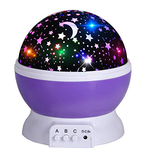 Acecharming Star Sky Night Light Projector, 360 Degree Romantic Rotating Ceiling Projector Light for Baby Kids, 8 Colors, 3 Model ()