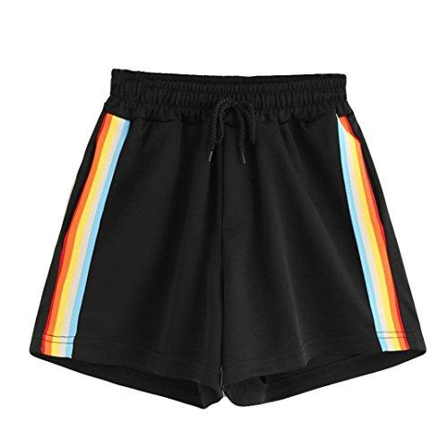 SUKEQ Women's Casual Summer Rainbow Shorts Mid Waist Loose Drawstring Ringer Yoga Workout Shorts Tracker Pants (Large, Black)