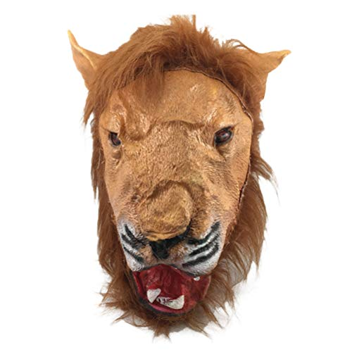 Amosfun Haunted House Lion Cosplay Props Soft Plastic Lion Head Cover for Hallowmas Festival Party Halloween Costumes, for Friends -