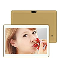 10.1 Inches Tablet PC, [HD Touchscreen Mic WIFI ]-Android 6.0 Octa Core Quad Core [4G + 64G Dual Sim Dual Camera Phone] Wifi Phablet Tablet,Support Games, Skype,MSN,Facebook, Twitter, etc (Gold)