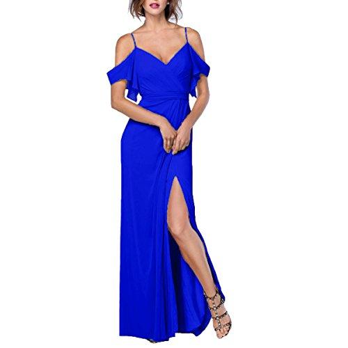 Beauté Des Femmes De Mariée Sur Le Côté De L'épaule Fente Bleu Royal Robe Longue En Mousseline De Soie De Demoiselle D'honneur