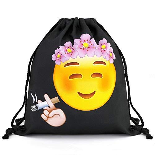 Mani 3D Nylon Drawstring Bags, Black Gym Drawstring Backpack Bag for Women/Kids with Week Emoji, Unisex String Backpacks Pattern Pull String Backpack