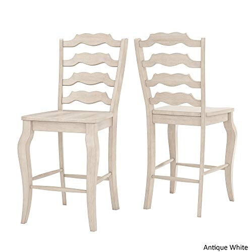 Inspire Q Eleanor French Ladder Back Wood Counter Chair (Set of 2) by Classic Antique White Antique, Wood Finish