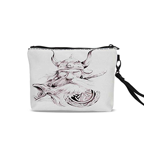 Tattoo Decor Portable Art Storage Bag with Cosmetics,Head of Wolf the Fierce Warrior Big Dog of the Forest Winter Themed Image For Women Girl,9