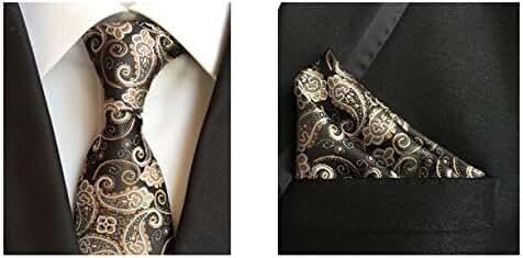 MENDENG Men's Gold Black Paisley Silk Necktie Formal Ties Hanky 2 Pieces Tie Set