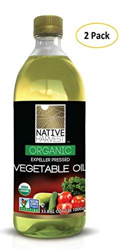 Native Harvest Organic Non-GMO Naturally Expeller Pressed Vegetable Oil, 1 Litre (33.8 FL OZ) 2 Packs