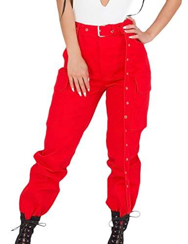 XXXITICAT Women's Chic Fashion Stand Collar Shorts Aviator Coats Windbreaker Long Sleeve Cropped Motorcycle Bomber Jackets (L,RE,L) ()