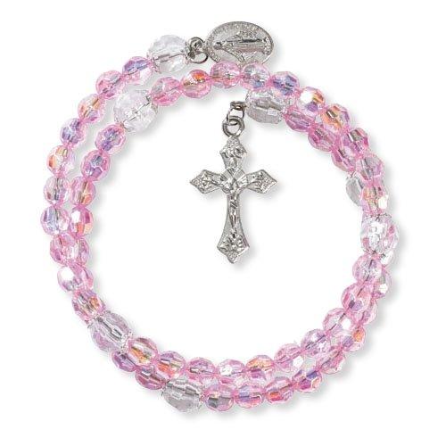 Catholic & Religious Pink Acrylic Wrap Style Rosary Bracelet - 12/pk