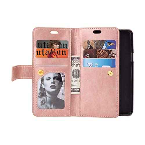 Samsung S9 Wallet Case for Women,Miya PU Leather Case with Credit Card Holder Slot Kickstand Folio Flip with Wrist Strap Protetive Case Magnetic Clasp Closure Strap for Samsung Galaxy S9 - Rose Gold