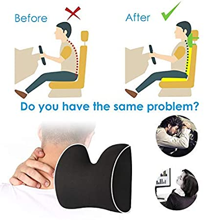 Black Car Neck Pillow Headrest Cushion for Neck Pain Relief/&Cervical Support with 2 Adjustable Straps and Washable Cover,100/% Pure Memory Foam and Ergonomic Design Feagar Car Seat Neck Pillow