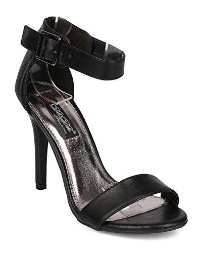 Dbdk Eh18 Donna In Similpelle Punta Aperta Sandalo Unico Con Cinturino Alla Caviglia - Nero